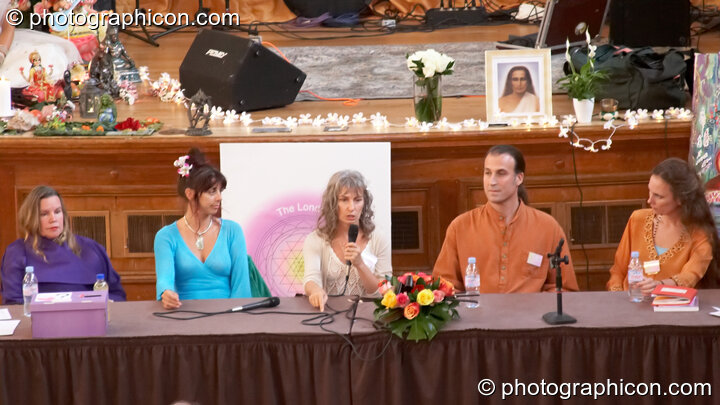 The discussion panel at the London Festival of Tantra 2008 feauring (left to right) Angela Hassan, Jewls Wingfield, Mahasatvaa Ma Ananda Sarita, Mark A. Michaels, Patricia Johnson, and Bernadette Vallely. Great Britain. © 2008 Photographicon