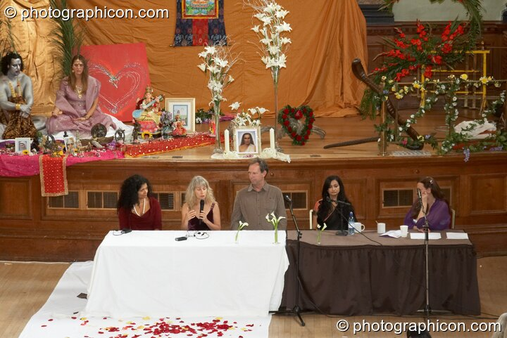 Discussion panel - What is Love? - at London Festival of Tantra 2009. Left to right: Rita Hraiz, Mahasatvaa Ma Ananda Sarita, Kip Moore, Maa Parvathi Nandanath Saraswati, Bernadette Vallely. Great Britain. © 2009 Photographicon
