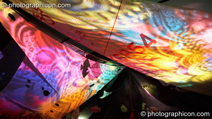 Decor and coloured lighting in the Chillout Tent at Planet Bob's Offworld Festival 2007. Swindon, Great Britain. © 2007 Photographicon