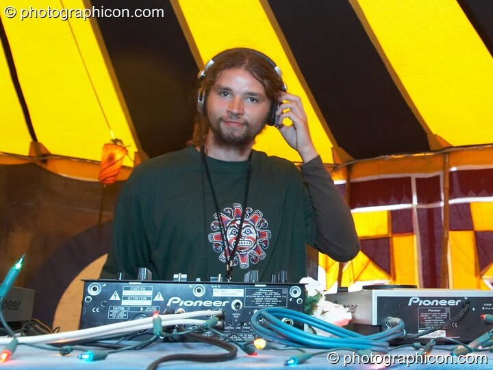 Zooch (Yaga Gathering, Lithuania) DJs in the Progressive Tent at Planet Bob's Offworld Festival 2007. Swindon, Great Britain. © 2007 Photographicon