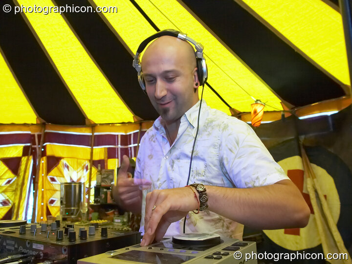 Sinan (Atlantis, Turkey) DJs in the Progressive Tent at Planet Bob's Offworld Festival 2007. Swindon, Great Britain. © 2007 Photographicon