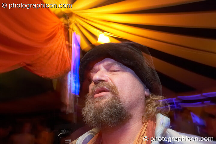 A man dances in the Progressive Tent at Planet Bob's Offworld Festival 2007. Swindon, Great Britain. © 2007 Photographicon