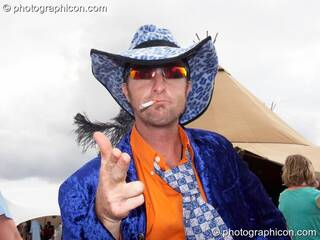 A man in a wonky costume at the Secret Garden Party 2006. Huntingdon, Great Britain. © 2006 Photographicon