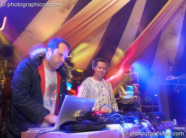 Stuart Warren Hill and Robin Brunson of Hexstatic perform on the Remix Stage at the Secret Garden Party 2007. Huntingdon, Great Britain. © 2007 Photographicon
