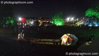 View of the festival site by night from the top of The Tower at the Secret Garden Party 2007. Huntingdon, Great Britain. © 2007 Photographicon