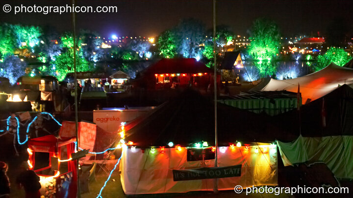 A night-time wide-shot of the Secret Garden Party 2008. Huntingdon, Great Britain. © 2008 Photographicon