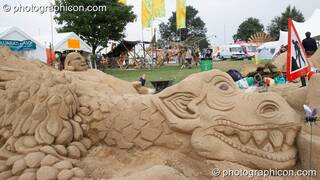 A large sand sculpture by Dirty Beach at the Secret Garden Party 2008. Huntingdon, Great Britain. © 2008 Photographicon