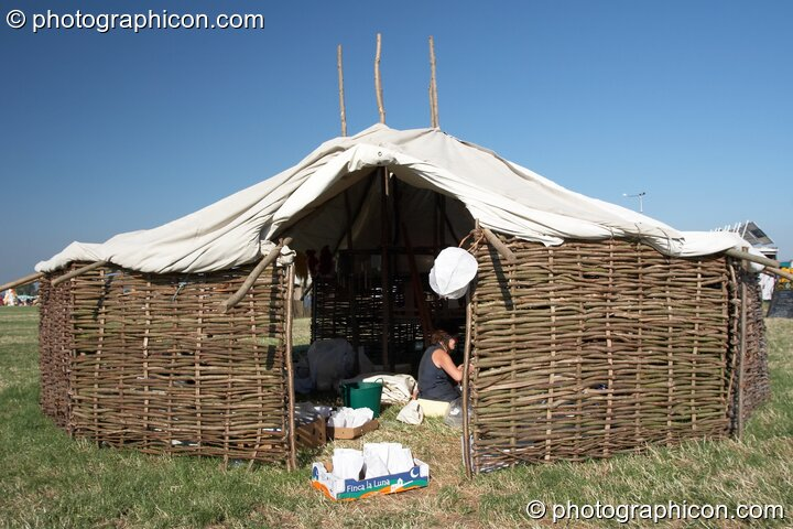 A hand-made tent in the Permaculture Camp at Sunrise Celebration 2006. Yeovil, Great Britain. © 2006 Photographicon