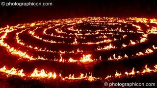 The Green Dragon fire labyrinth blazes at Sunrise Celebration 2007. Yeovil, Great Britain. © 2007 Photographicon