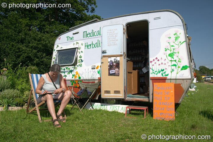 The Medical Herbalists caravan at the Turaya Gathering 2004. Wimborne, Great Britain. © 2004 Photographicon