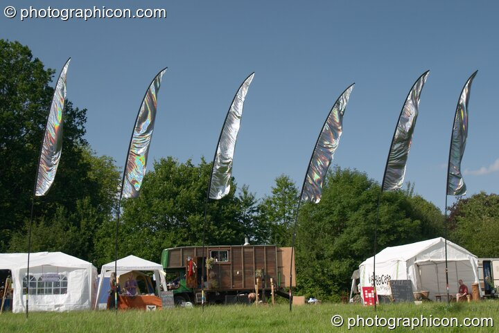 Flags decorating the site at the Turaya Gathering 2004. Wimborne, Great Britain. © 2004 Photographicon