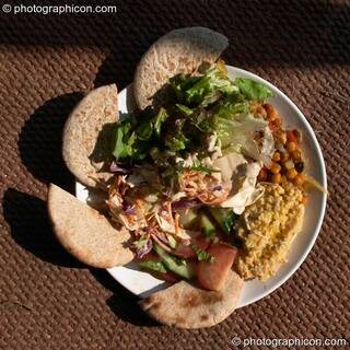 A plate of food from the Purple Penguin Cafe Turaya Gathering 2004. Wimborne, Great Britain. © 2004 Photographicon