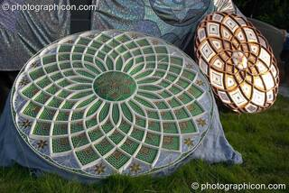 Large mosaic mandala sculpture at the Turaya Gathering 2004. Wimborne, Great Britain. © 2004 Photographicon
