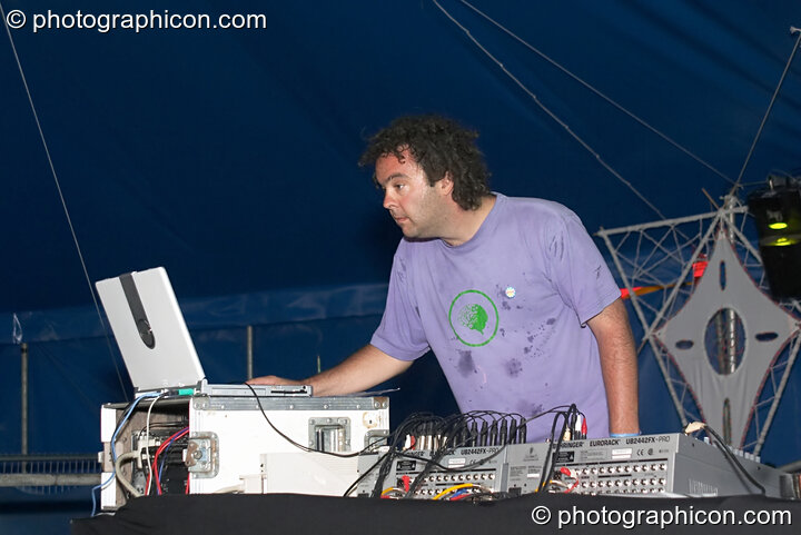Ott of Hallucinogen in Dub playing at the Turaya Gathering 2004. Wimborne, Great Britain. © 2004 Photographicon