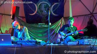 Gavin Griffiths and Gabriele Tosti of G-Delic / The Gabridelic Experience perform on the Gaia Chill stage at Waveform Project 2007. Kenton, Exeter, Great Britain. © 2007 Photographicon