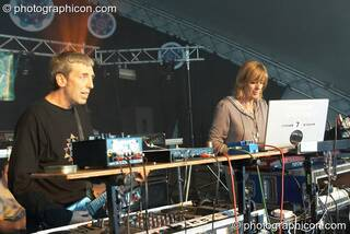 Steve Hillage and Miquette Giraudy of System 7 (A-Wave, UK) perform on the Waveform main stage at Waveform Project 2007. Kenton, Exeter, Great Britain. © 2007 Photographicon