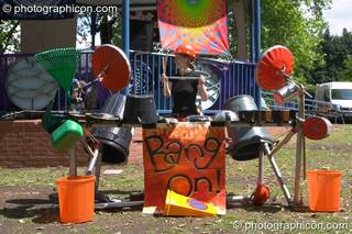 A percussive performance on recycled instruments by Bang On at Kingston Green Fair 2005. Kingston Upon Thames, Great Britain. © 2005 Photographicon
