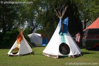 Two tipis basking in the sun at Kingston Green Fair 2005. Kingston Upon Thames, Great Britain. © 2005 Photographicon