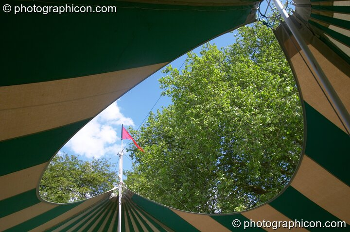 The heart-shaped roof of the Ozone marquee at Kingston Green Fair 2005. Kingston Upon Thames, Great Britain. © 2005 Photographicon