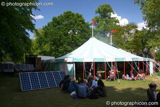 Outside the Ozone marquee are the solar panels that powers the stage within at Kingston Green Fair 2005. Kingston Upon Thames, Great Britain. © 2005 Photographicon