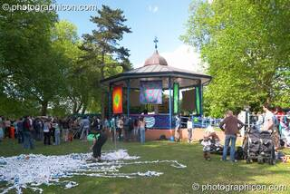 Temple of Peace (with Waste Net in foreground) at Kingston Green Fair 2005. Kingston Upon Thames, Great Britain. © 2005 Photographicon