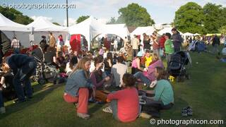 People relaxing in the Healing Area at Kingston Green Fair 2005. Kingston Upon Thames, Great Britain. © 2005 Photographicon