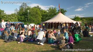 Outside the Sacred Dance Tent in the Healing Area at Kingston Green Fair 2005. Kingston Upon Thames, Great Britain. © 2005 Photographicon