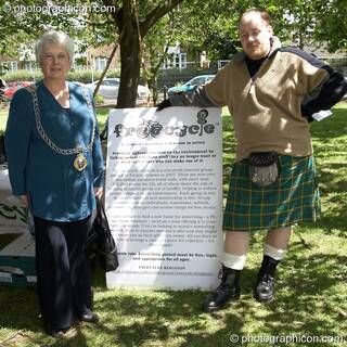 The Worshipful Mayor of the Royal Borough of Kingston upon Thames, Councillor Mary Reid, visits the Freecycle stall at Kingston Green Fair 2006. Great Britain. © 2006 Photographicon