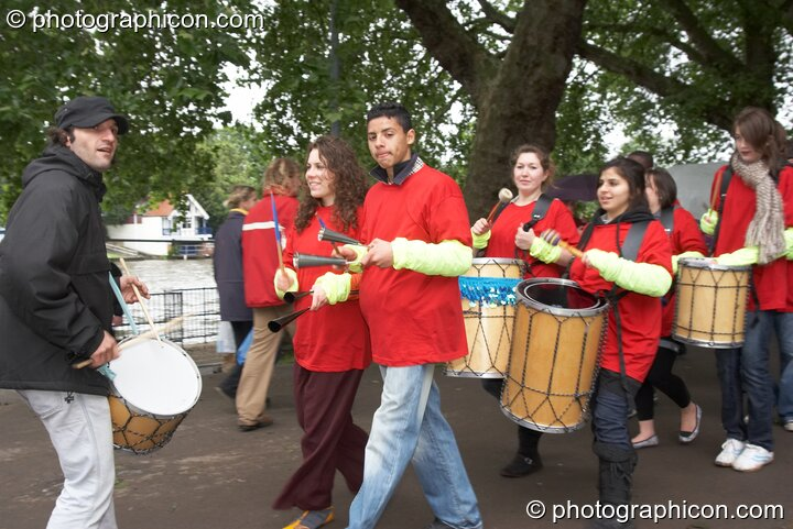 A youth Samba band parade around the site at Kingston Green Fair 2007. Kingston upon Thames, Great Britain. © 2007 Photographicon