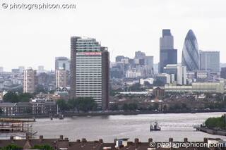 View of the 'Gherkin' & Thames from Greenwich Park at the London Green Lifestyle Show 2005. Great Britain. © 2005 Photographicon