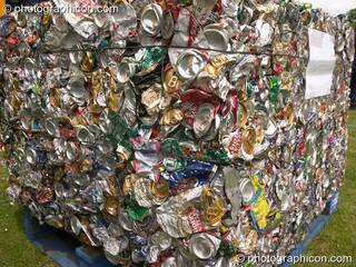 A large compressed block of drink cans at the London Green Lifestyle Show 2005. Great Britain. © 2005 Photographicon