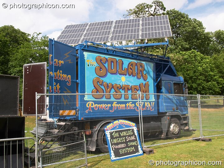 The Green Roadshow's solar truck powering the main stage at the London Green Lifestyle Show 2005. Great Britain. © 2005 Photographicon