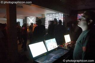 The VJ desk at Dr Love's Psychoactive Explosion. London, Great Britain. © 2004 Photographicon