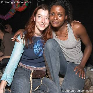 Two friends at Dr Love's Psychoactive Explosion. London, Great Britain. © 2004 Photographicon
