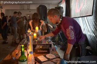 Moonquake DJing at Dr Love's Psychoactive Explosion. London, Great Britain. © 2004 Photographicon