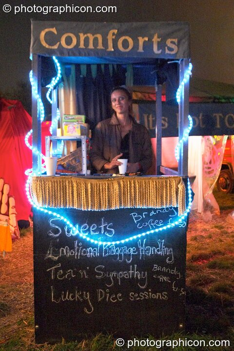 A comforts stall selling snacks at the Lost Vagueness Summer Party 2004. Lewes, Great Britain. © 2004 Photographicon