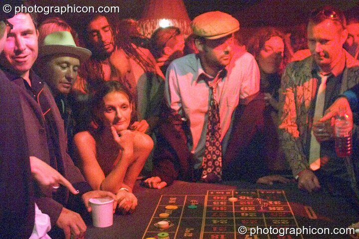Weird scenes inside the casino at the Lost Vagueness Summer Party 2004. Lewes, Great Britain. © 2004 Photographicon
