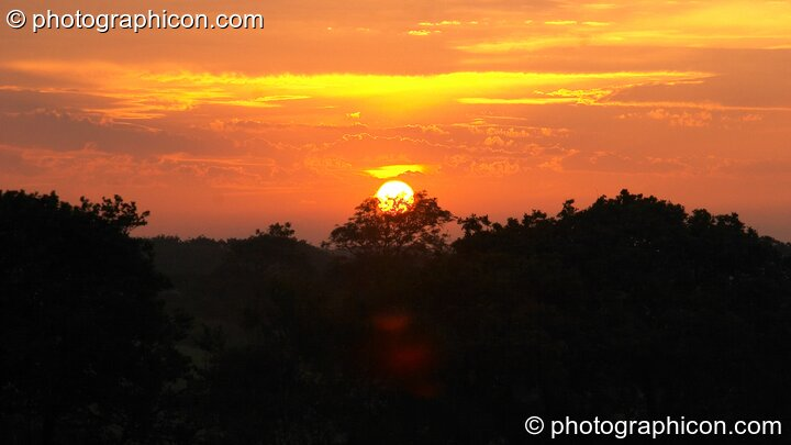The sun rises over the trees at Wing Makers Solstice 2005. Launceston, Great Britain. © 2005 Photographicon