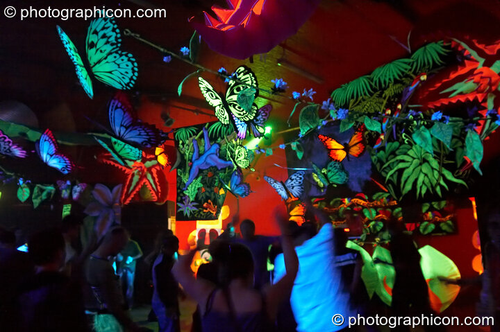Butterfly decor in the Tribe of Frogs space at the Twisted Records Label Party. London, Great Britain. © 2006 Photographicon