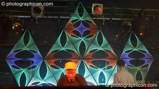 DJ Frequence DJing to a backdrop of StringArt by Optical illusionS in the Digital Disco space at Echo System. London, Great Britain. © 2006 Photographicon