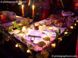 Tea stall by candle light at Echo System. London, Great Britain. © 2006 Photographicon