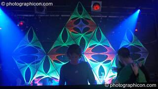 Hamish DJing to a backdrop of StringArt by Optical illusionS in the Digital Disco space at Echo System. London, Great Britain. © 2006 Photographicon