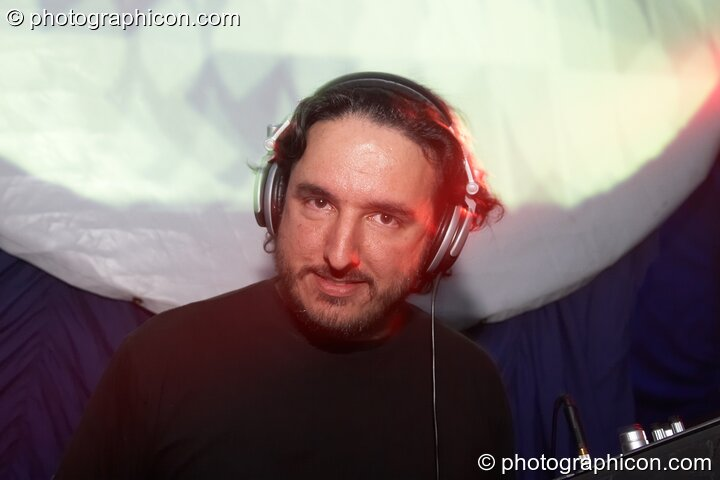 Psylent DJing in the Psychedelic Rollercoaster Room at Chrysalid. London, Great Britain. © 2006 Photographicon