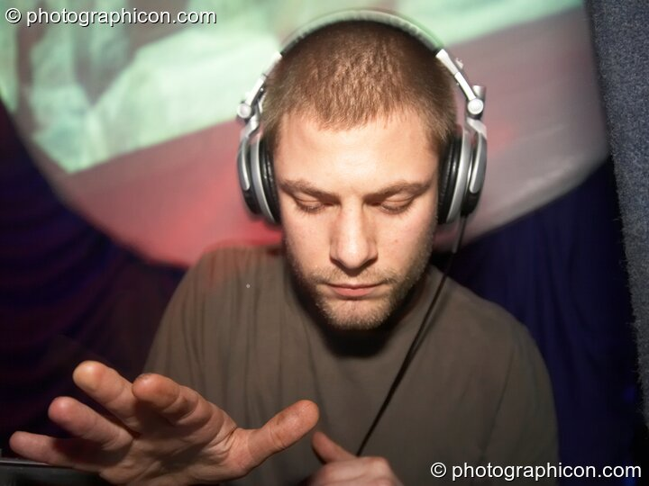 Moonquake DJing in the Psychedelic Rollercoaster Room at Chrysalid. London, Great Britain. © 2006 Photographicon