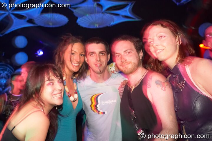 Katia, Blue, DiscoStu, Henry, and Ingrid in the Psychedelic Rollercoaster Room at Chrysalid. London, Great Britain. © 2006 Photographicon