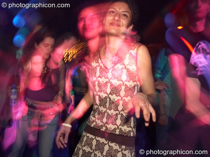 Dancer with flash-ghosted second head in the Psychedelic Rollercoaster Room at Chrysalid. London, Great Britain. © 2006 Photographicon