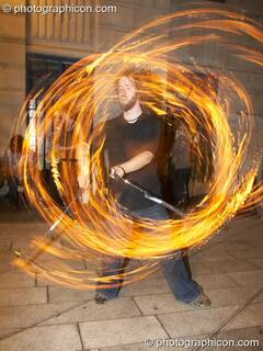 Fire performance by Alex Lee of Jedi Jugglers outside the Kalahari party. London, Great Britain. © 2006 Photographicon