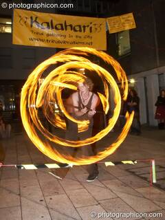 Fire performance by Jedi Jugglers outside the Kalahari party. London, Great Britain. © 2006 Photographicon