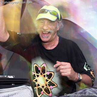 Raja Ram of Shpongle DJing on the IDSpiral stage at the Twisted Records 10th Birthday Party. London, Great Britain. © 2006 Photographicon