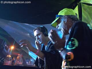 Simon Posford and Raja Ram of Shpongle DJing on the IDSpiral stage at the Twisted Records 10th Birthday Party. London, Great Britain. © 2006 Photographicon